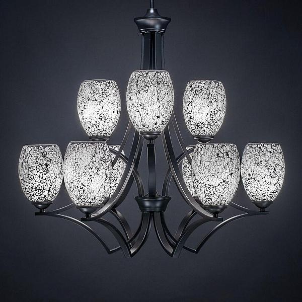 Zilo 9 Light Shaded Chandelier Shade Color Black Lighting