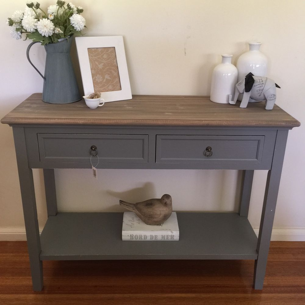 100cm 2 drawer console french provincial grey hall table for Hallway consoles and tables