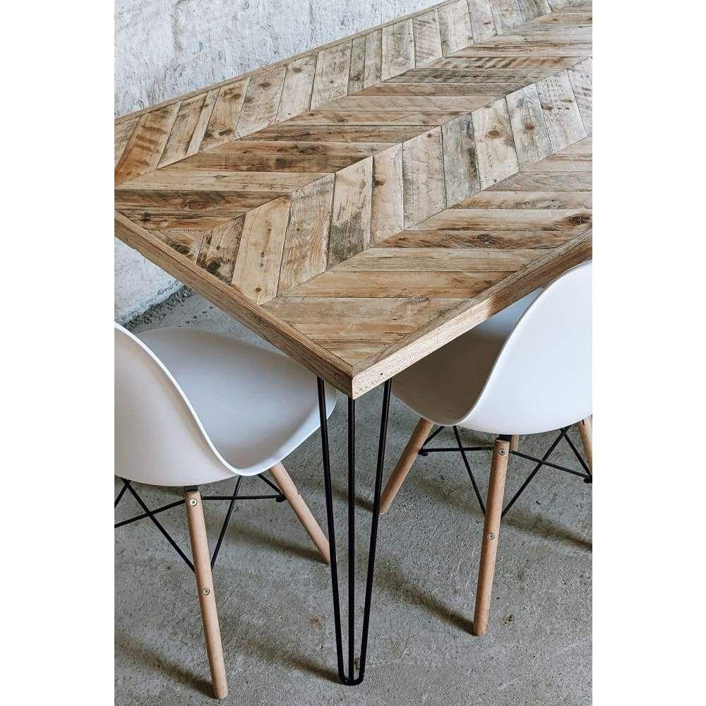 Herringbone Dining Table Wooden Chevron Reclaimed Wood Table