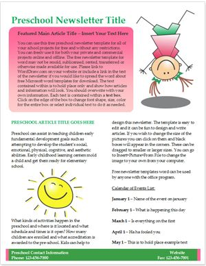 Free Preschool Newsletter Template  WorddrawCom  Preschool