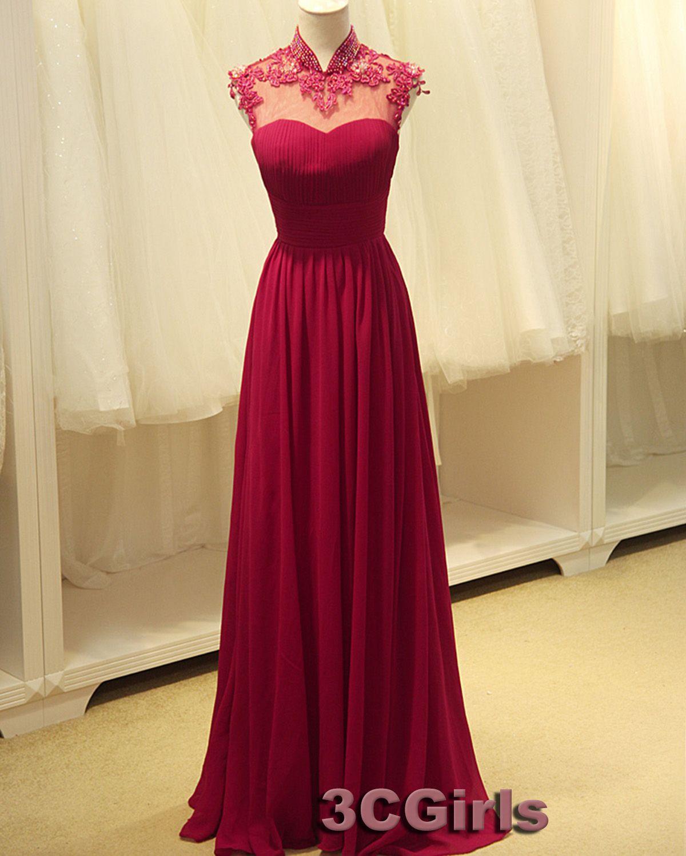 Prom dress amazing open back wine red chiffon vintage long