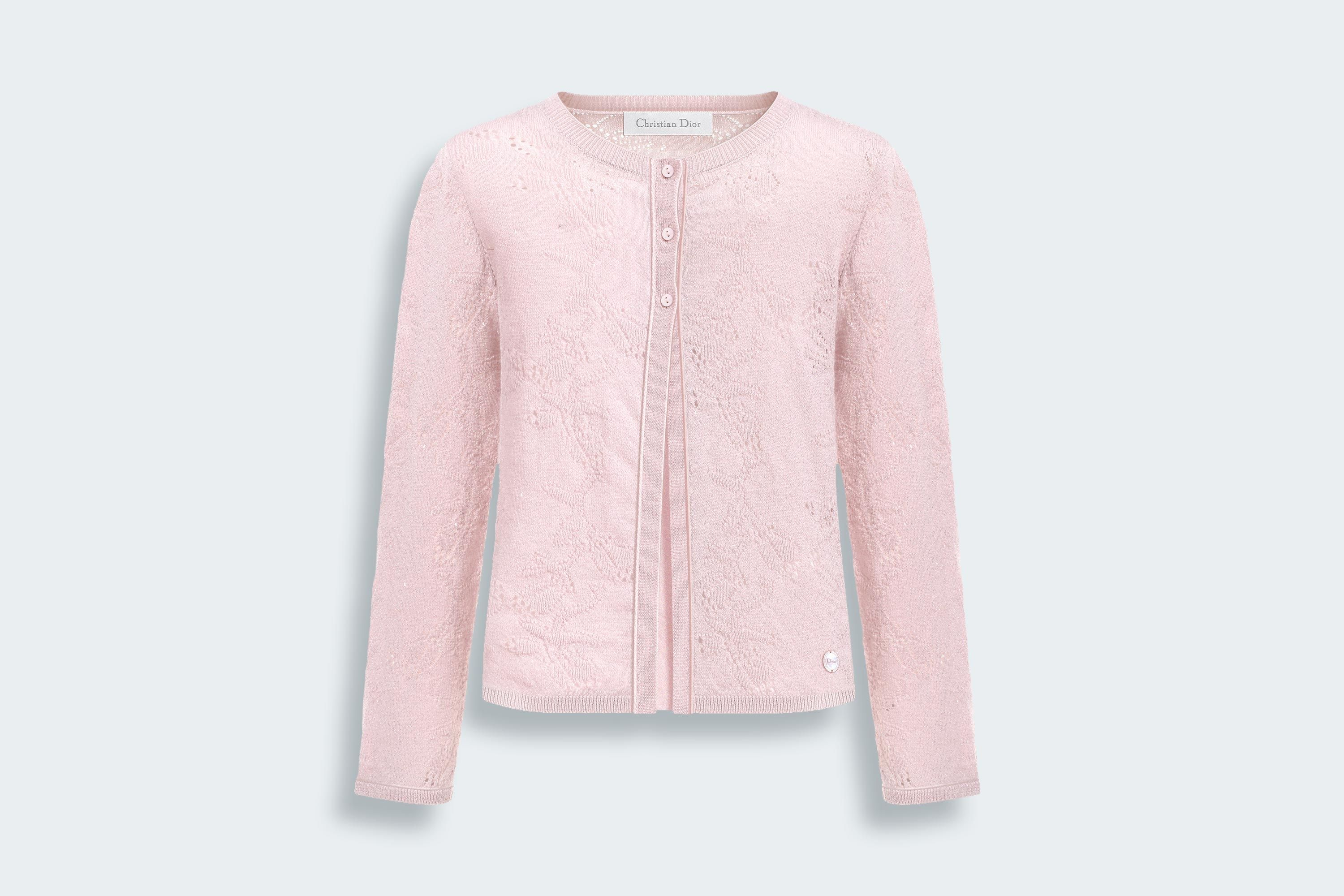 Wool cardigan with open-worked roses - Girls Dior