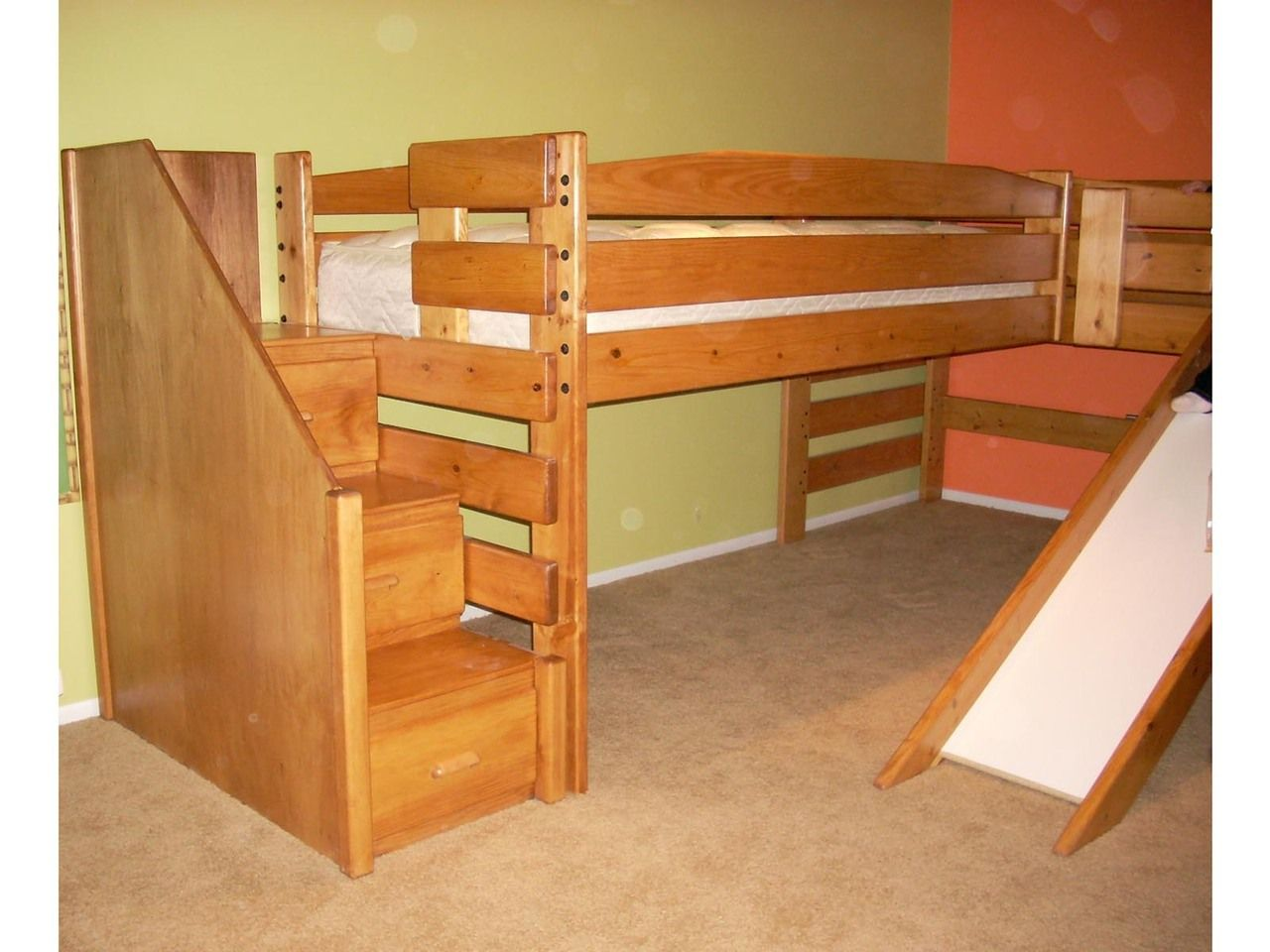 Exceptionnel Kid Tough Solid Wood Low L Shape Loft Beds With Stairs And Slide. Custom  Built By Hand. You Choose The Best Finish And Options For Your Room.