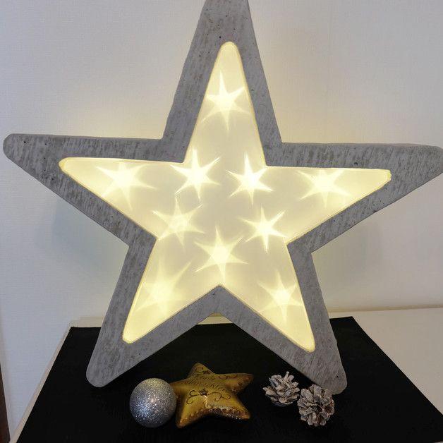 Tolle Weihnachtsdekoration Fur Drinnen Und Draussen Jeder Beton Stern Ist Ein Unikat Lieferung Leuchtstern Weihnachten Weihnachtsdekoration Deko Weihnachten