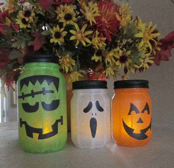 Halloween Monster Jars -- Halloween Decor - Halloween Decoration - halloween decoration images