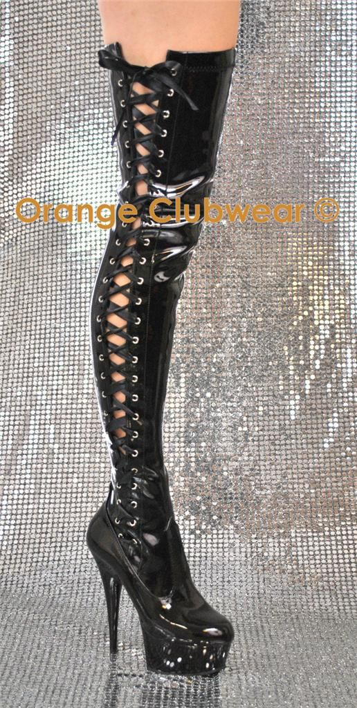 a086b92ea478 PLEASER Thigh High Stripper Heels Boots Side Lace-Up Stretch Black ...