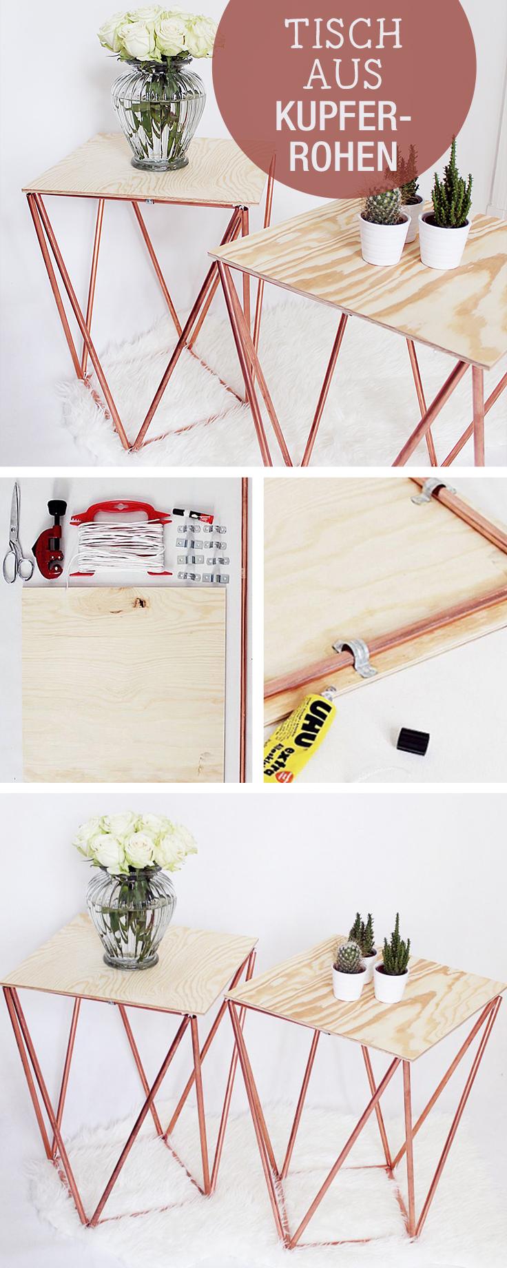 DIY Anleitung für einen Tisch aus Kupferrohren, geometrisches Design / crafting inspiration: table made of copper pipes, industrial design via DaWanda.com #industridesign