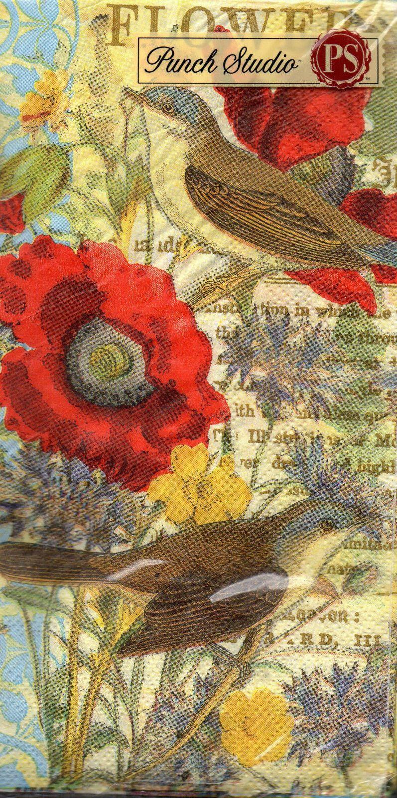 32 Punch Studio Red Poppy Sparrow Hostess Paper Napkins   Napkins ...