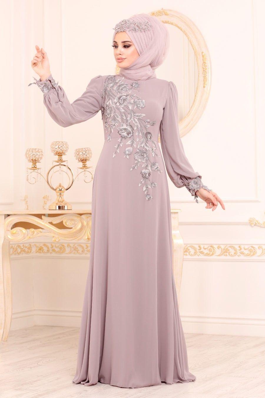Tesetturlu Abiye Elbise Cicek Desenli Gul Kurusu Tesettur Abiye Elbise 37850gk Tesetturisland Com Elbiseler Elbise Giyim