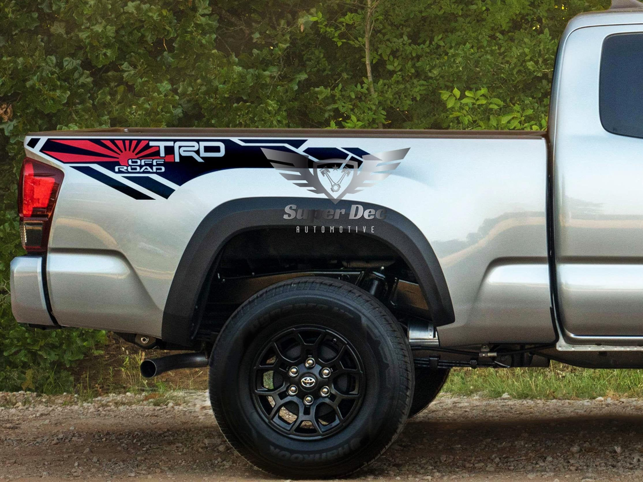 Jdm Flag Trd 4x4 Pro Sport Off Road Side Vinyl Stickers Decal Fit
