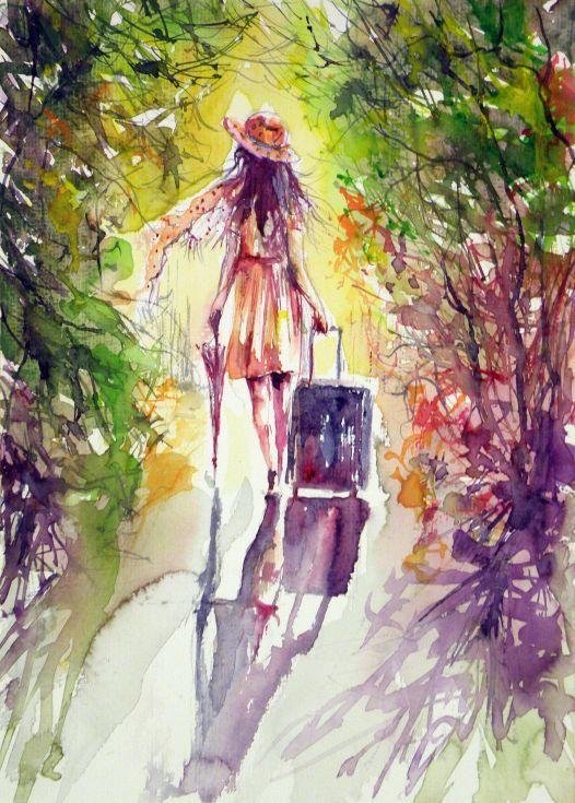 Walk Alone In 2020 Watercolor Artists Watercolor Watercolor Art