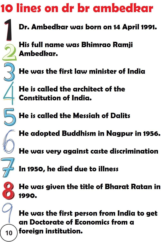 Best 10 Line Essay On Dr Br Ambedkar For School Children And Student Short Constitution