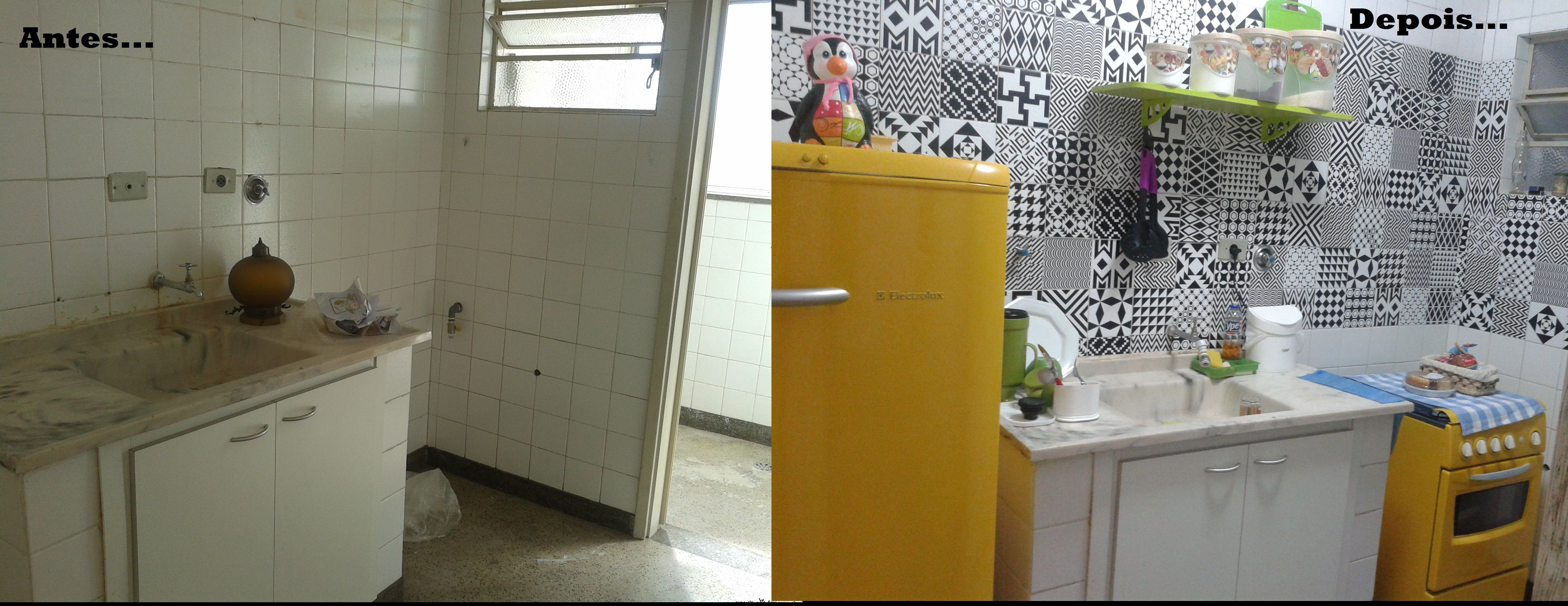 Cozinha reformada com azulejo hidráulico e pintura nos