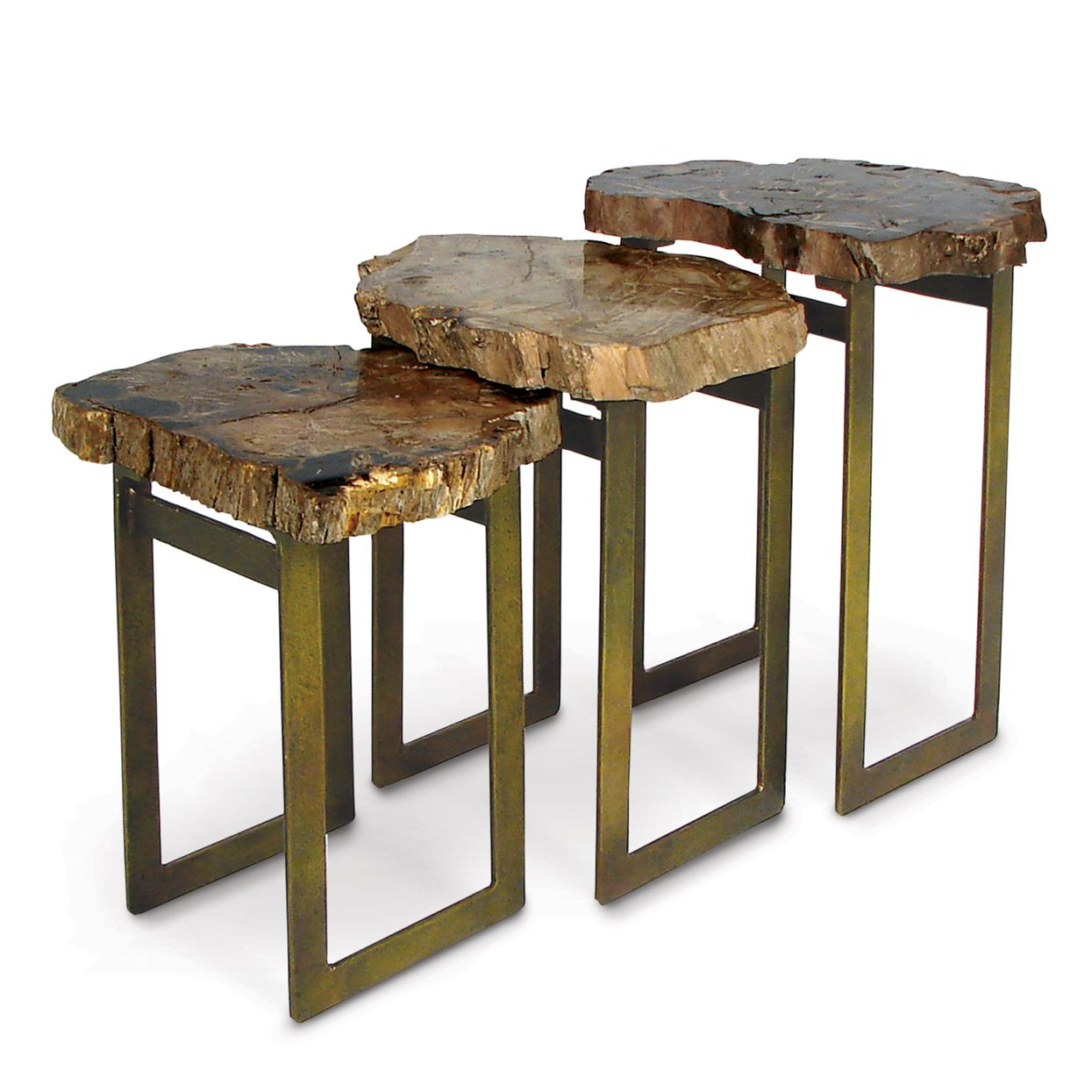 Natural elements artistic 24 tall petrified wood side table unique limited production item limited stock