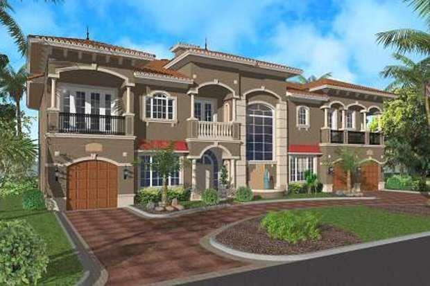 Mediterráneo Plan de Estilo Casa - 4 Dormitorios 5.5 Baños 6009 m² / Ft Plan de # 420-183 Frente de elevación - Houseplans.com