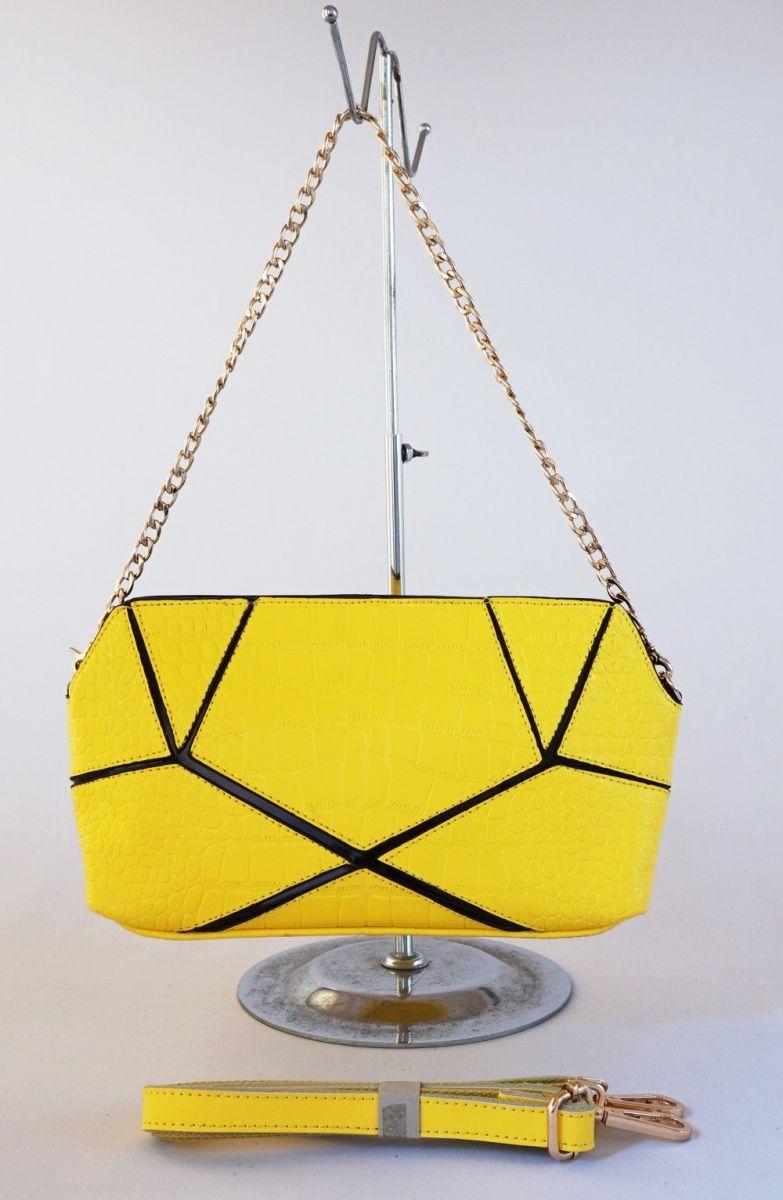 Tas Croco Elegan Ada 2 Tali Bahu Rantai Dan Selempang Kulit Good Dompet Fashion Import Quality Tebal Warna Kuning Uk 30x17
