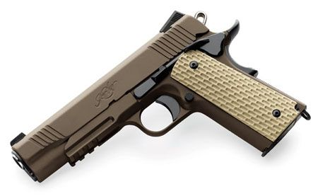 Kimber Desert Warrior 1911 Pistol. Love the 1911 frame, LOVE IT! Don't like the .45 - too slow and lame terminal ballistics.  Don't tell me about big and knock-down power.  F=MV^2. We need supersonic bullets!