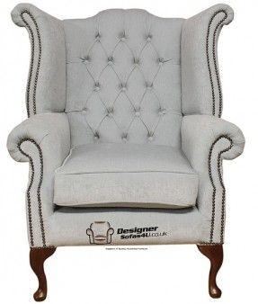 Captivating Chesterfield Fabric Queen Anne High Back Wing Chair Duck Egg Blue, Leather  Sofas, Traditional