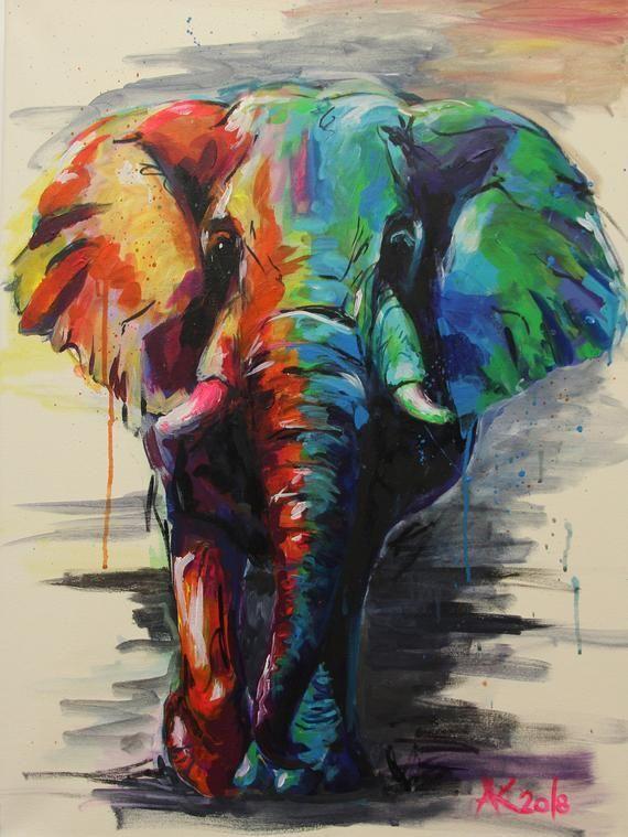 Elefant Original Acryl Gemälde  auf Keilrahmen : Elefant Original Acryl Gemälde auf Keilrahmen 4 cm stark, 80 x 60 cm. Handgemalt von der Künstlerin in eigenem, unverwechselbarem Stil. Expressive Darstellung in leuchtenden, klaren Farben, teilweise Neon-Leuchtfarben.  Auch die seitlichen Kanten sind bemalt, so dass das Bild auch ohne extra Rahmung  #Elefant #Original #Acryl