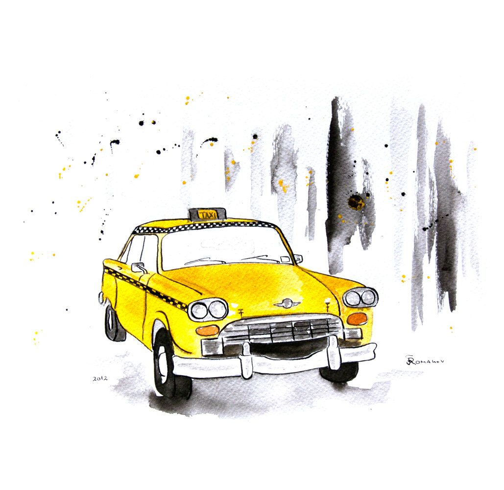 New York Taxi Street City Canvas Wall Art Picture Print Va: Watercolor Painting Original New York Taxi.