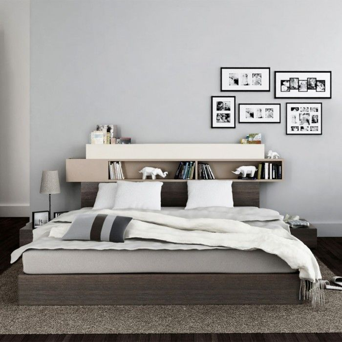 Bed with headbord and shelves 160x200 Modern bedroom