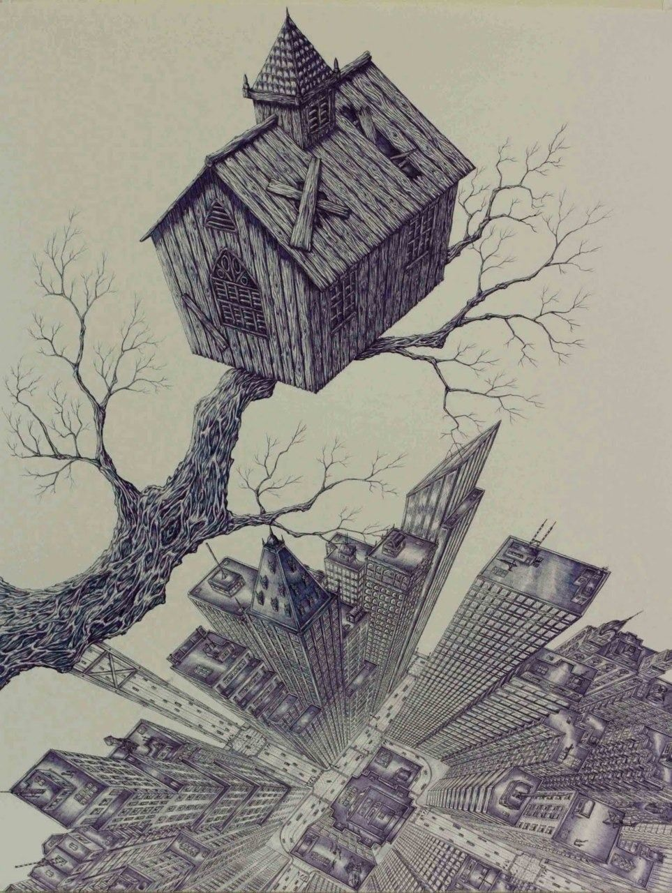 "2headedsnake: "" riksmits.net Rik Smits, Church in a Tree 50 x 65 cm, blue ballpoint on paper, 2008 """