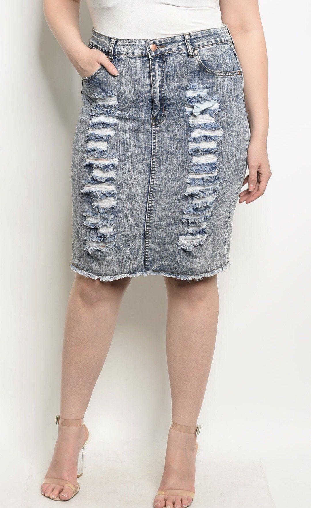 fdb3ed9d753a Denim Wash Plus Size Skirt | LLxD Boutique | Skirts, Plus size ...