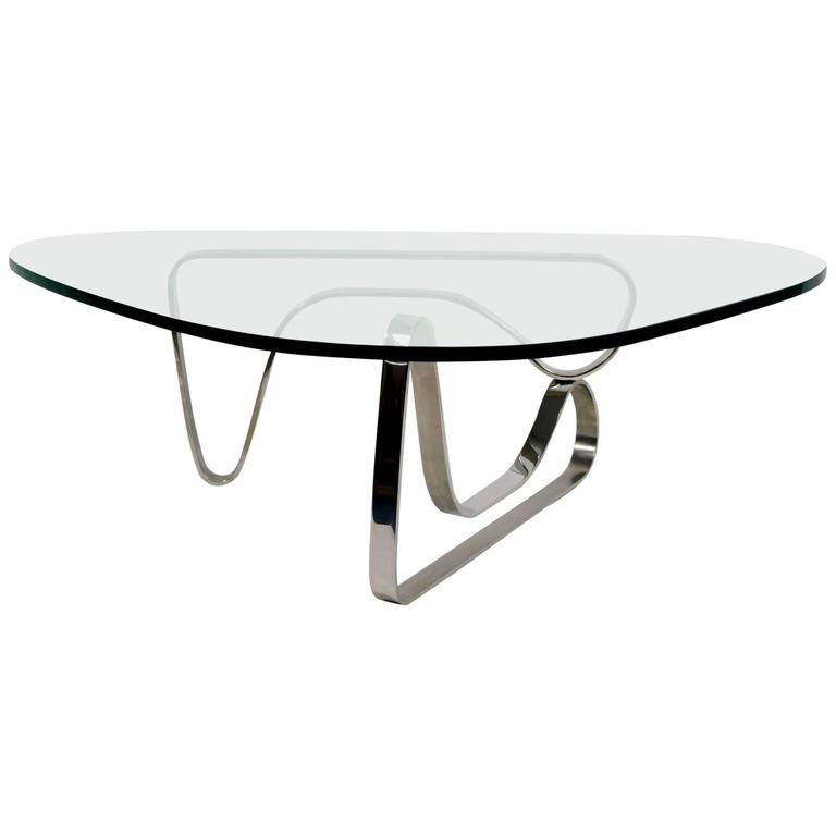 Noguchi Style Coffee Table With Stainless Steel Base Table