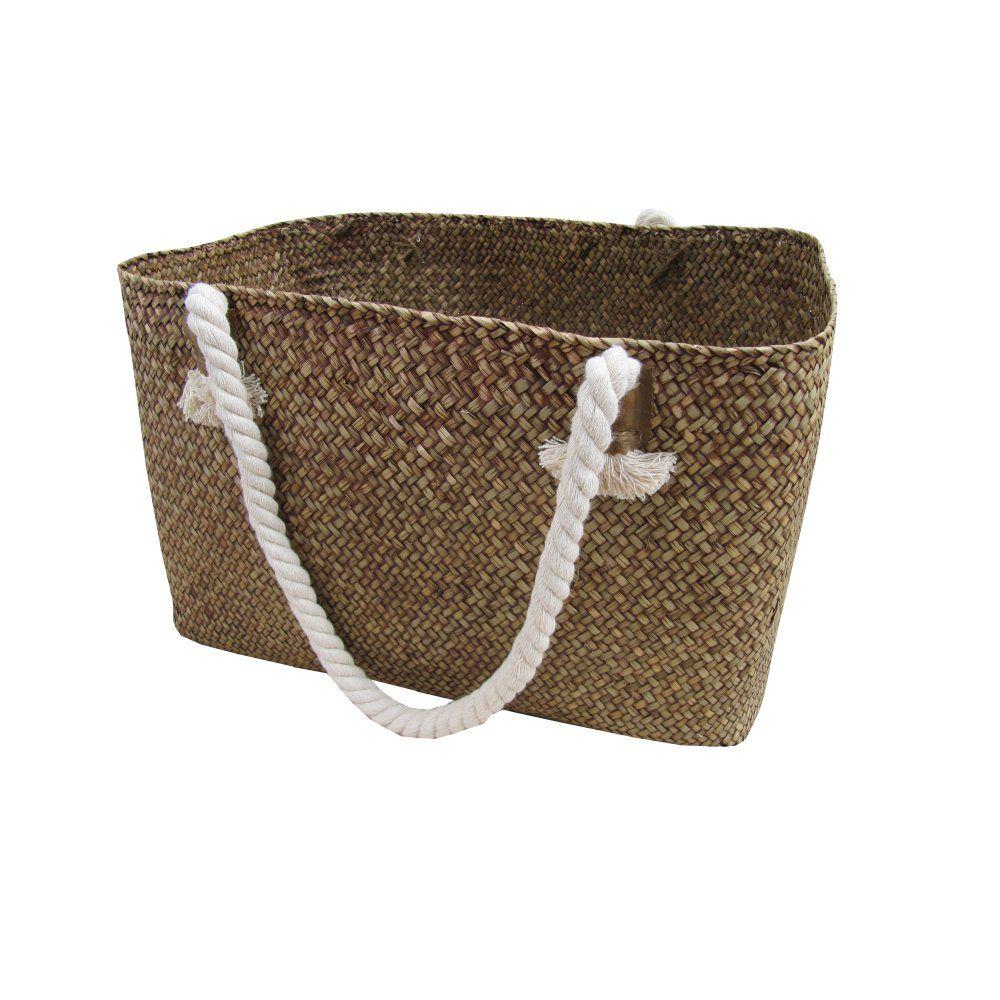 Wicker storage basket home storage baskets melbury rectangular wicker - Brown Palm Leaf Storage Bag Woven Basket