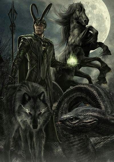 Loki and his children  | Norse mythology | Loki, Loki