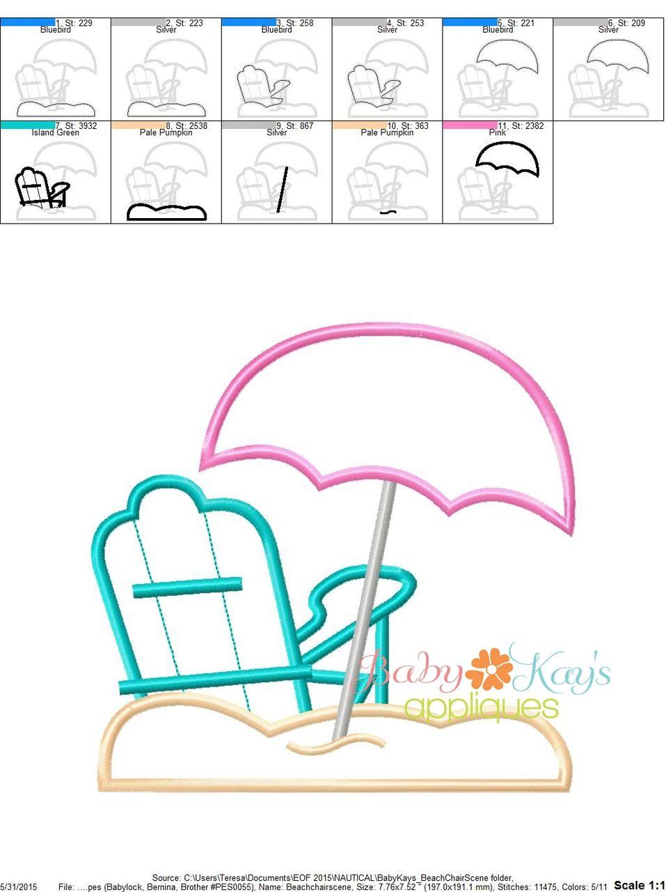 Beach chair scene 4x4 5x7 6x10 8x8 beach chairs