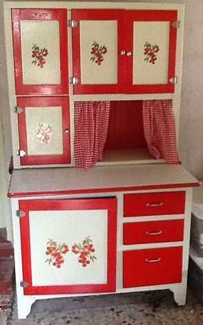 Vintage White And Red Hoosier Kitchen Cabinet