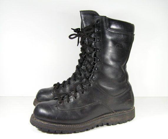 Vintage Combat Boots Mens 10 M D Black Leather By