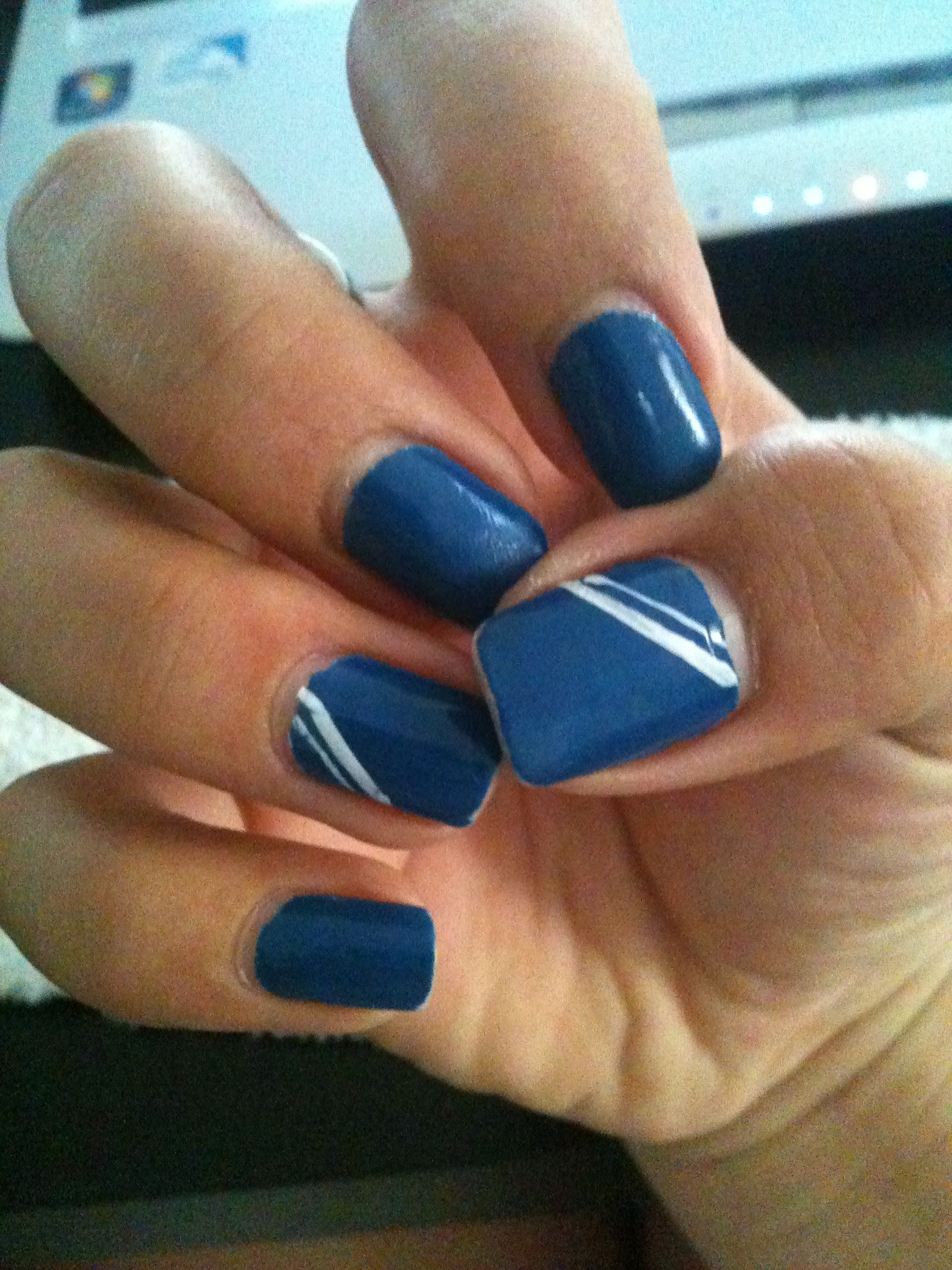 Blue and white nails :) | Nail Designs | Pinterest | White nails