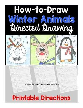 Winter Directed Drawing : winter, directed, drawing, Reindeer,, Polar, Bear,, Penguin, Directed, Drawing, Drawing,, Activities,, Lessons, Elementary