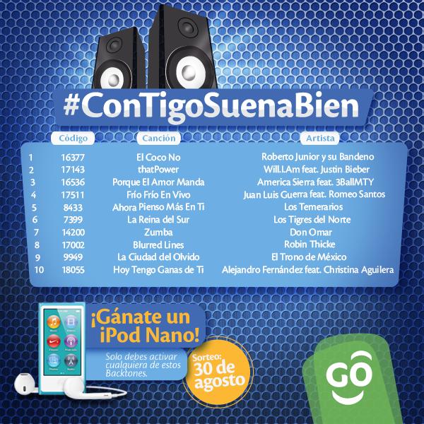 ¿Te gustaría ganarte un iPod Nano? Activa cualquiera de estos Backtones y participa. #ConTigoSuenaBien