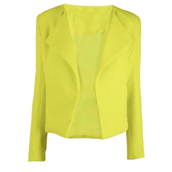 Delorse Cropped Textured Waterfall Collar Blazer in Lime (€38 ...