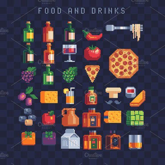Pixel art Food and drinks icons set. | Pixel art food ...