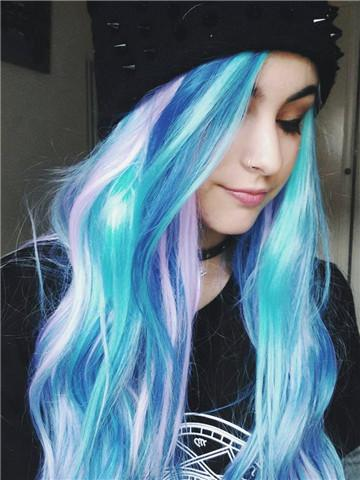Long Blue Purple Pink Mixed Colorful Wave Synthetic Lace Front Wig