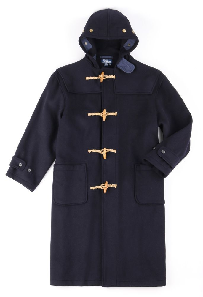 7b62269aa Polo RALPH LAUREN Navy Blue Wool Wooden Toggle Hooded Duffle Coat ...