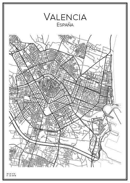 Mapa De La Ciudad De Valencia España.Valencia Cuadros Nordicos Mapas Ilustrados Y Mapa Ciudad