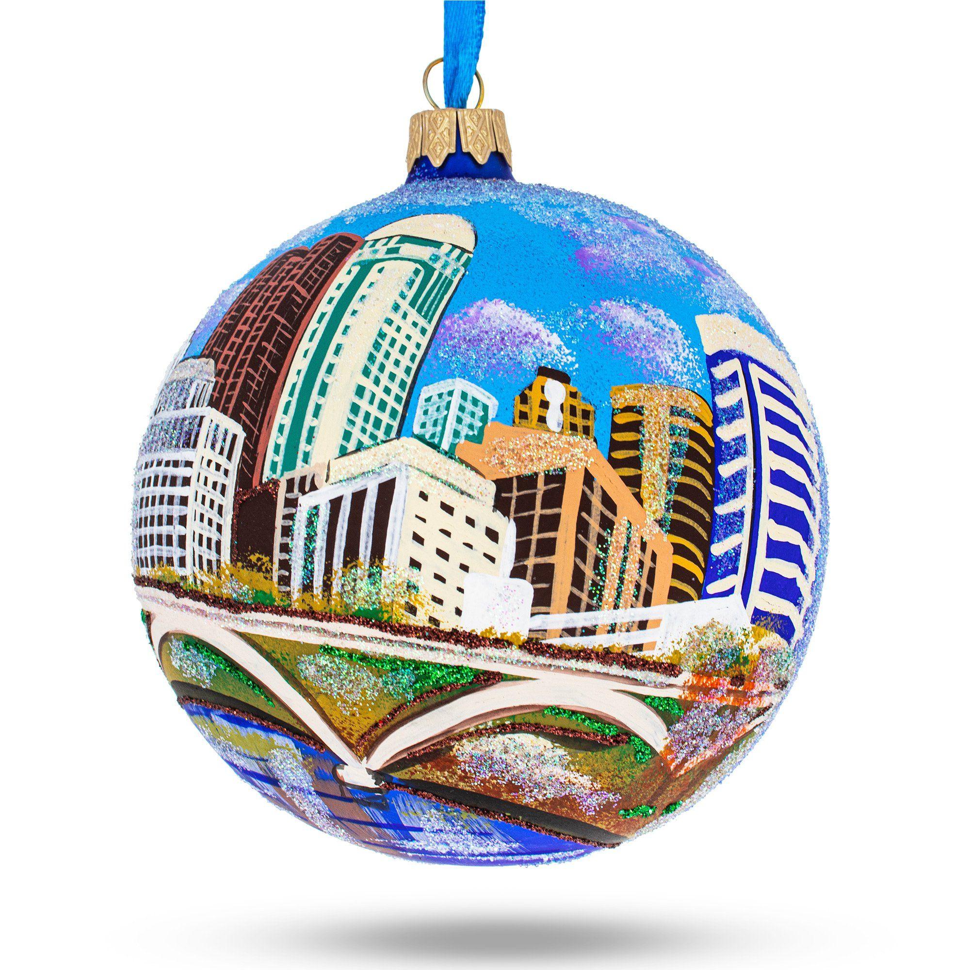 Columbus Ohio Glass Christmas Ornament 4 Inches Glass Christmas Ornaments Christmas Ornaments Personalized Ornaments