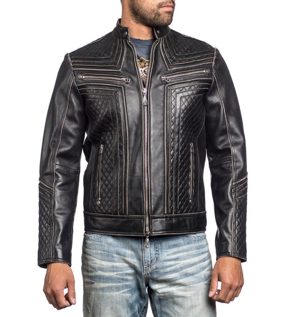 DETAILS • Affliction Leather Moto Jacket • 3D Silicon