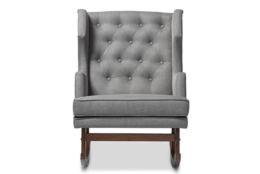 Fabulous Iona Modern Grey Fabric Button Tufted Wingback Rocking Chair Bralicious Painted Fabric Chair Ideas Braliciousco