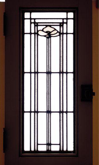 "George Washington Maher - Leaded Glass Light Screen (Casement Window) for the C. Winton House, Minneapolis, Minnesota. Circa 1910.  25"" x 11-3/4"" x 1-11/16"" (63.5cm x 29.85cm x 4.29cm)."