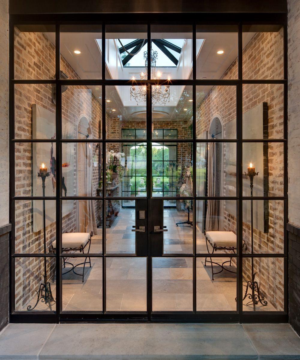 Black Frame All Glass Double Door Huge Sky Light Brick