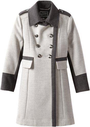 Rothschild Girls 7-16 Big Faux Wool Military Style Coat, Grey, 8 ...