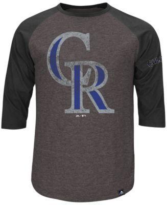 Majestic Men's Three-Quarter Sleeve Colorado Rockies T-Shirt
