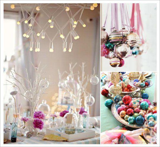 D coration table noel vintage rose bleu or boule de verre - Deco table noel bleu et blanc ...