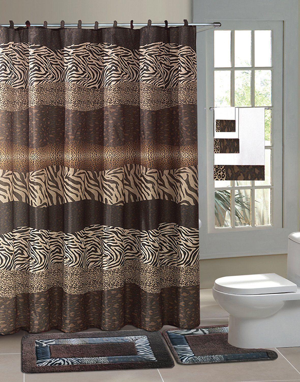 Leopard shower curtain - Zambia Safari 15 Piece Bathroom Accessory Set 2 Bath Mats Shower Curtain Leopard